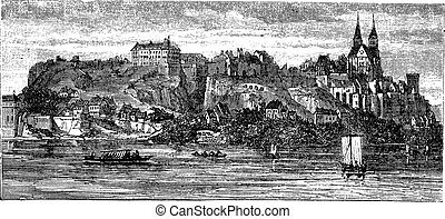 Old Breisach, Germany, vintage engraving from 1890s.