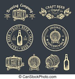 Old brewery logos set. Kraft beer retro signs with hand...