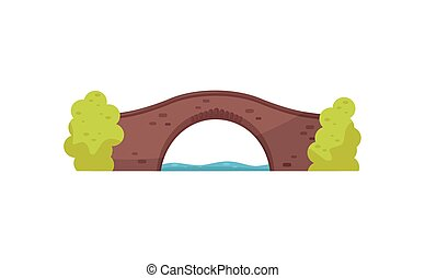 Old brick bridge and green bushes. Walkway across the river. Architecture theme. Flat vector for mobile game or map of city park