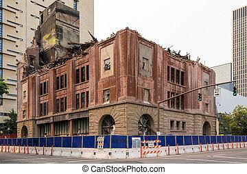 Old Brick Building Being Demolished