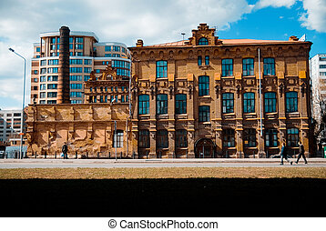 Old brick building in the city of Omsk