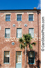 Old Brick Building with Earthquake Braces
