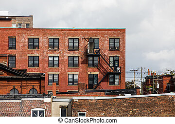 Old Brick Buildings and Iron Fire Escapes