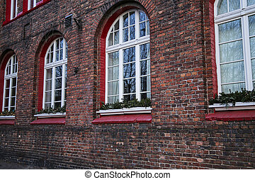old brick buildings of the former mining district of Silesia, Nikiszowiec, Katowice
