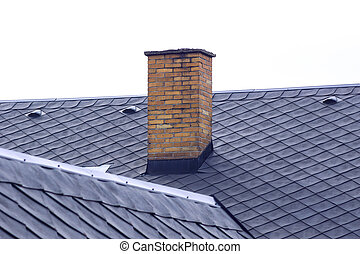 old brick chimney on roof