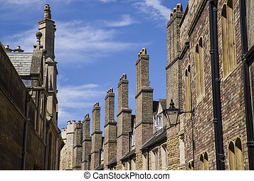 A row of old brick chimneys located on Trinity Street in Cambridge, UK.