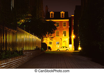 Brick alley and houses in fells point, baltimore, maryland ...  Brick alley and...