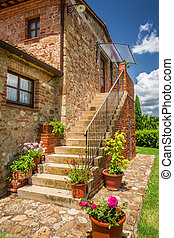 Old brick house in Tuscany