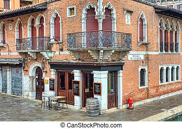 Old brick house. Venice, Italy.