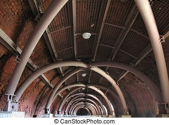 Old Brick Kiln - Interior view of an old brick plant from...