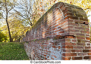 medieval wall of the ex papal fortress in Ferrara