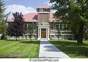 Old brick school building