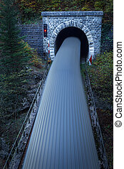 Old brick tunnel in the mountains and incoming train with ...
