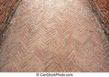 Old brick walkway texture