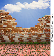 old brick wall and blue sky with sun light for design - old...