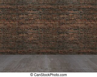 old brick wall and concrete floor