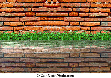 old brick wall and green grass on white background
