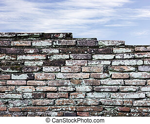 Old brick wall and sky background