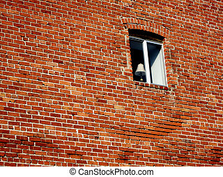 Old Brick Wall and Window with Lamp