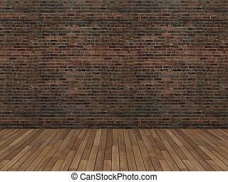 old brick wall and wood floor