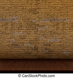Old brick wall and wooden floor - Architectural design...