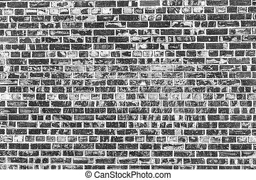Old brick wall background. Grunge texture. Black wallpaper....