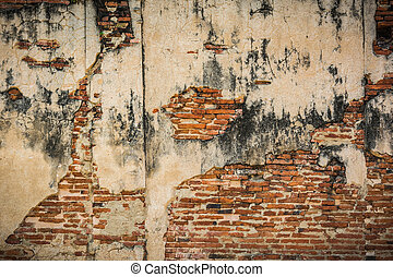 old brick wall , Cracked red wall