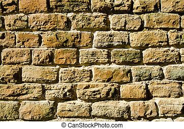 Old brick wall in sunshine