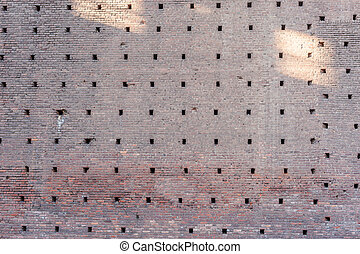 old brick wall of the castle