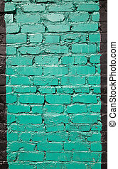 old brick wall painted in green color