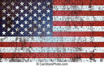 Old brick wall painted in the US flag - Old brick wall...