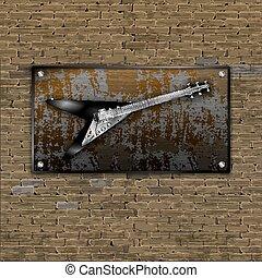 Old brick wall rusty metal sheet Electric rock guitar
