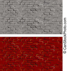 Old Brick Wall - Seamless Brick Wall, vector illustration