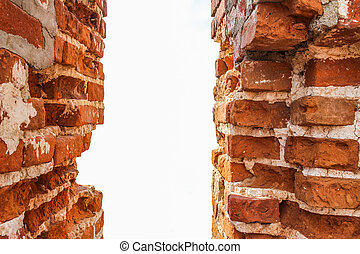 old brick wall (window) isolated on white background