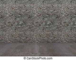 old brick wall wit concrete floor