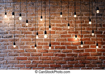 Old brick wall with bulb lights lamp