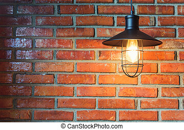 Old brick wall with light lamp