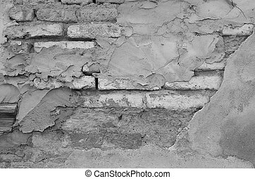 Old Brick Wall With Plaster, Mono Tone