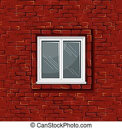 Old Brick Wall With Window. Seamless Pattern