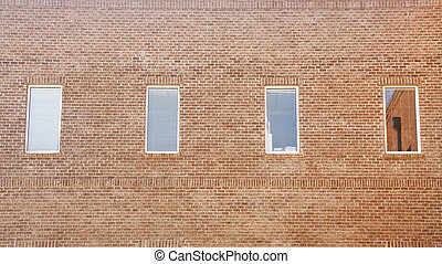 Old Brick Wall with Windows and Blinds