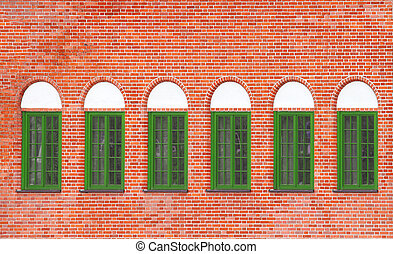 Old brick wall with windows