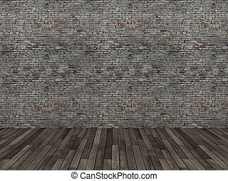 old brick wall with wood floor