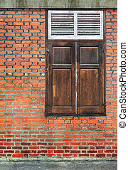 Old Brick Wall with wood Window