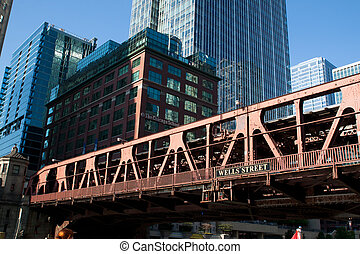 Old bridge accross the river in Chicago