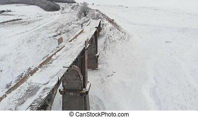 old bridge aerial survey in winter