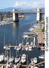 Old Bridge, False creek bay and marina.
