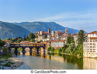 Old bridge in Bassano del grappa in Italy