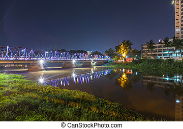 Old Bridge in Chiang mai, Thailand and Long Exposure