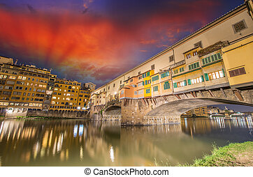 Old Bridge in Florence. Ponte Vecchio at sunset