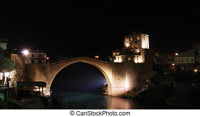Old Bridge in Mostar at Night